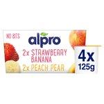 Alpro No Bits Strawberry & Banana, Peach & Pear Soya Yogurt Alternatives
